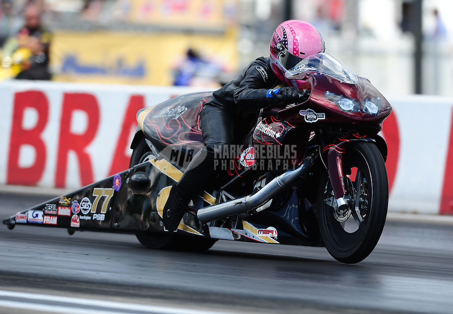 Aug. 21, 2011; Brainerd, MN, USA: NHRA pro stock motorcycle rider Angie Smith during the Lucas Oil Nationals at Brainerd International Raceway. Mandatory Credit: Mark J. Rebilas-