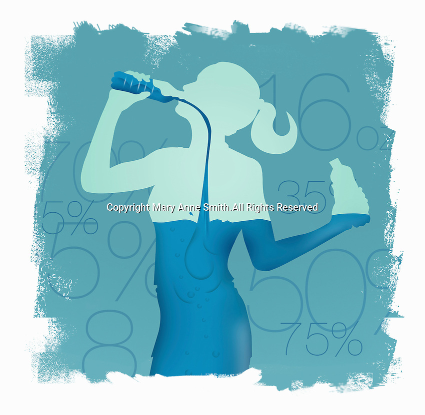 Woman drinking water from bottle and filling her body