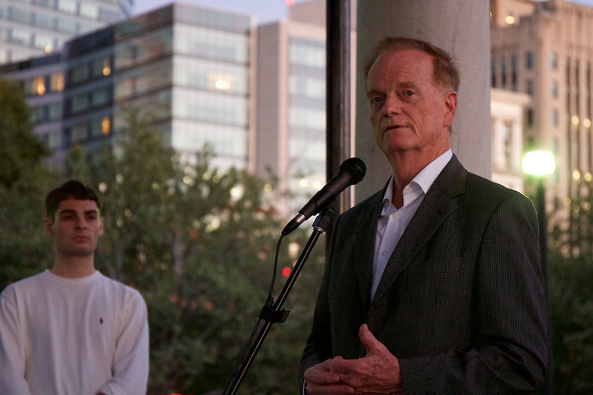 Dr. Gregory Payne speaks to an audience during the 9/11 Vigil on the Boston Common.
