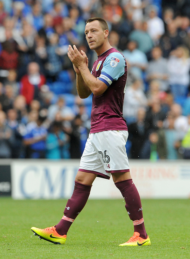 Aston Villa's John Terry looks dejected at the final whistle <br /> <br /> Photographer Ian Cook/CameraSport<br /> <br /> The EFL Sky Bet Championship - Cardiff City v Aston Villa - Saturday August 12th 2017 - Cardiff City Stadium - Cardiff<br /> <br /> World Copyright &copy; 2017 CameraSport. All rights reserved. 43 Linden Ave. Countesthorpe. Leicester. England. LE8 5PG - Tel: +44 (0) 116 277 4147 - admin@camerasport.com - www.camerasport.com