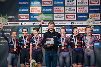 TTT winners Team Canyon-Sram on the podium<br /> <br /> UCI WOMEN'S TEAM TIME TRIAL<br /> Ötztal to Innsbruck: 54.5 km<br /> <br /> UCI 2018 Road World Championships<br /> Innsbruck - Tirol / Austria