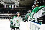 Stockholm 2014-03-21 Ishockey Kvalserien AIK - R&ouml;gle BK :  <br /> R&ouml;gles Kelsey Tessier gratuleras av lagkamrater efter att ha gjort m&aring;l p&aring; sin sista straff i straffl&auml;ggningen<br /> (Foto: Kenta J&ouml;nsson) Nyckelord:  jubel gl&auml;dje lycka glad happy