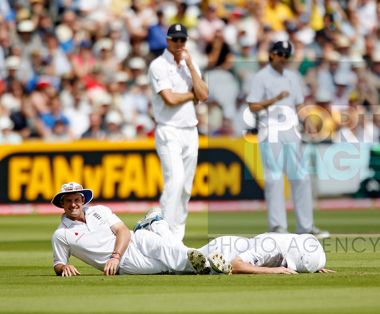 England's Andrew Strauss looks on after a dropped chance