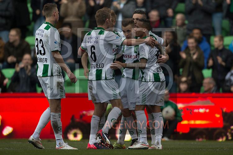 (L-R), Hans Hateboer of FC Groningen, Maikel Kieftenbeld of FC Groningen, Albert Rusnak of FC Groningen, Tjaronn Chery of FC Groningen,