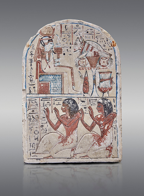 """Ancient Egyptian Ra stele , limestone, New Kingdom, 19th Dynasty, (1279-1190 BC), Deir el-Medina,  Egyptian Museum, Turin. Grey background.<br /> <br /> Khonsu sits on a cube-like throne and wears the solar disc and half-moon on his head. He faces an offering table piled with food and flowers. The hieroglyphic inscription reads: """"Khonsu-in-Thebes, Neferhotep. Protection, life, stability and power surround him, like Ra. Libation for your ka with bread, beer, oxen and fowl.""""Lower register depicts two men kneeling in adoration. They face to the left: Nebre, whose title is kedw sesh """"draughtsman"""" and his son, Amenemope.""""Give praise to Khonsu-in-Thebes by the scribe of Amun in the Place of Truth Nebra, justified in peace, he loved his son, Amenemope, justified"""".In the bottom register are the """"Draughtsman-scribe of Amun in the Place of Truth"""", Nebre, and his son, Amenemope""""<br /> <br /> Akh iqer en Ra """" the excellent spirit of Ra' stele.One of three stele forund in different rooms of houses in Deir el-Medina where they stood in niches"""
