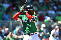 Boston Red Sox outfielder Hanley Ramirez (13) during a Spring Training game against the Atlanta Braves on March 17, 2015 at JetBlue Park at Fenway South in Fort Myers, Florida.  Atlanta defeated Boston 11-3.  (Mike Janes/Four Seam Images)