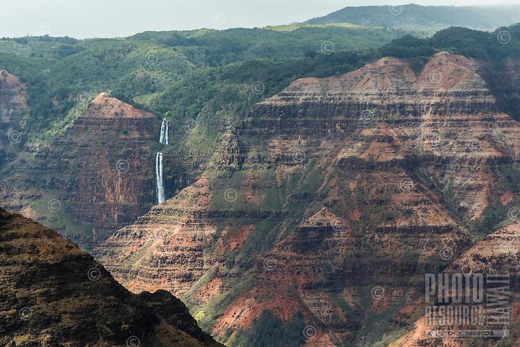 Overview of Wamea Canyon with Waipo'o Falls, Kaua'i
