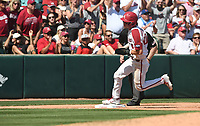 NWA Democrat-Gazette/J.T. WAMPLER Arkansas' designated hitter Matt Goodheart rounds third base on the way to scoring against Ole Miss Monday June 10, 2019 during the NCAA Fayetteville Super Regional at Baum-Walker Stadium in Fayetteville. Arkansas won 14-1 and will advance to the College World Series in Omaha.