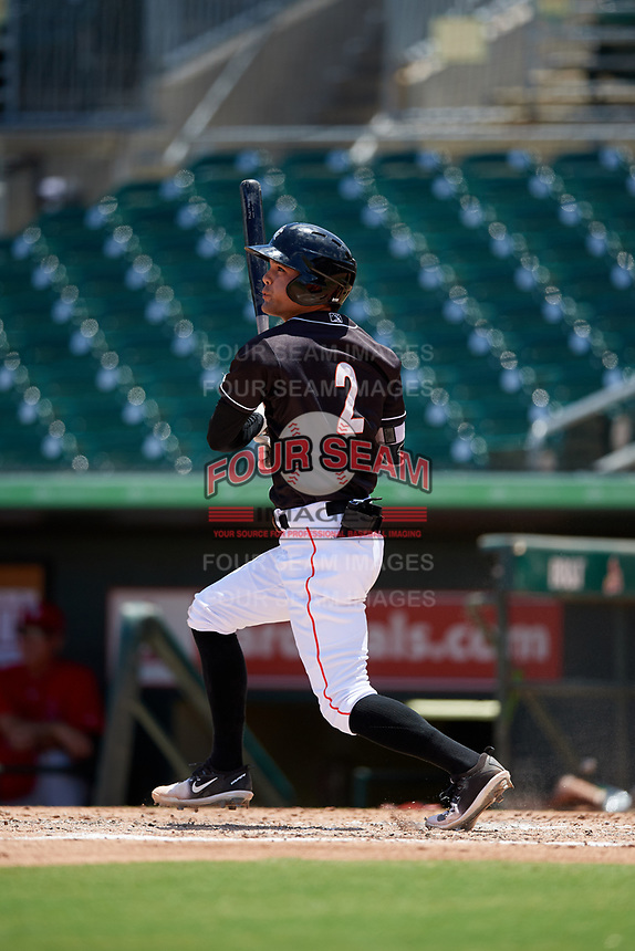 Jupiter Hammerheads designated hitter Riley Mahan (2) follows through on a swing during a game against the Palm Beach Cardinals on August 5, 2018 at Roger Dean Chevrolet Stadium in Jupiter, Florida.  Jupiter defeated Palm Beach 3-0.  (Mike Janes/Four Seam Images)