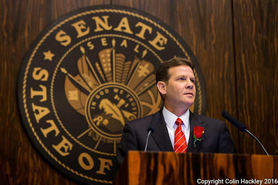 TALLAHASSEE, FLA. 1/12/16-Senate President Andy Gardiner, R-Orlando, speaks during the opening day of the 2016 legislative session, Tuesday at the Capitol in Tallahassee.<br /> <br /> COLIN HACKLEY PHOTO