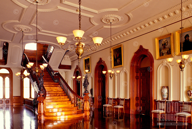A display of royal furniture and artifacts in Iolani Palace, which is a 4-story Italian Renaissance palace that was built in 1882 and is in downtown Honolulu