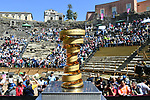The Trofeo Senza Fine on display at sign on before the start of Stage 4 a 202km very hilly stage running from Catania to Caltagirone, Sicily, Italy. 8th May 2018.<br /> Picture: LaPresse/Gian Mattia D'Alberto | Cyclefile<br /> <br /> <br /> All photos usage must carry mandatory copyright credit (&copy; Cyclefile | LaPresse/Gian Mattia D'Alberto)