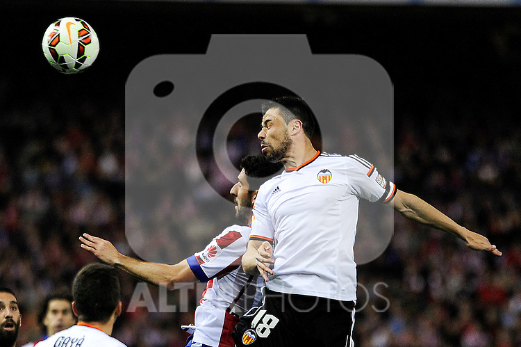 Atletico de Madrid´s Raul Garcia and Valencia CF´s Javier Fuego during 2014-15 La Liga match between Atletico de Madrid and Valencia CF at Vicente Calderon stadium in Madrid, Spain. March 08, 2015. (ALTERPHOTOS/Luis Fernandez)