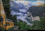 Train View. <br /> I use keywords not only in Lightroom, but to remember to photograph certain kinds of images. Step back and include part of the train, to give the viewer a unique point of view. Other keywords: car view, street view and room view.<br /> Riding the Gornergrat Train at sunrise from Lauterbrunnen to Kleine Schedegg, Switzerland.