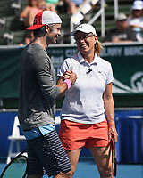 DELRAY BEACH, FL - NOVEMBER 04: Martina Navratilova and Timothy Olyphant attend the Chris Evert/Raymond James Pro-Celebrity Tennis Classic at the Delray Beach Tennis Center on November 4, 2017 in Delray Beach Florida. <br /> CAP/MPI04<br /> &copy;MPI04/Capital Pictures