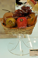 A Japanese fruit hamper sells for 12600 yen , for four pieces of fruit, approximately 63 pounds sterling in the Isetan epartment Store in Central Tokyo, Japan. September 1st, 2008.<br />