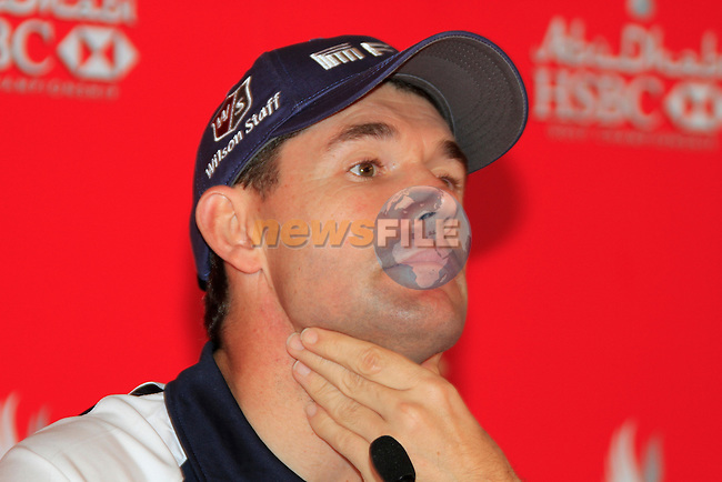 Padraig Harrington gives a press conference after being disqualified from the tournament for his ball moving unknown to him on the previous days play of the Abu Dhabi HSBC Golf Championship, 21st January 2011..(Picture Eoin Clarke/www.golffile.ie)