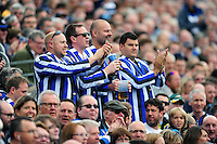 Bath Rugby supporters in the crowd celebrate. Aviva Premiership match, between Bath Rugby and Newcastle Falcons on September 10, 2016 at the Recreation Ground in Bath, England. Photo by: Patrick Khachfe / Onside Images