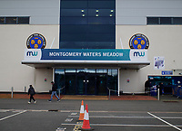 A general view of Montgomery Waters Meadow, home of Shrewsbury Town<br /> <br /> Photographer Andrew Vaughan/CameraSport<br /> <br /> The EFL Sky Bet League One - Shrewsbury Town v Lincoln City - Saturday 11th January 2020 - New Meadow - Shrewsbury<br /> <br /> World Copyright © 2020 CameraSport. All rights reserved. 43 Linden Ave. Countesthorpe. Leicester. England. LE8 5PG - Tel: +44 (0) 116 277 4147 - admin@camerasport.com - www.camerasport.com