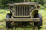 Munda, Western Province, Solomon Islands; the grill of a 1942 Jeep Willy parked on one of the original jungle roads used by US troops during World War II, it is the only known restored and functioning Jeep from that era in the Solomon Islands