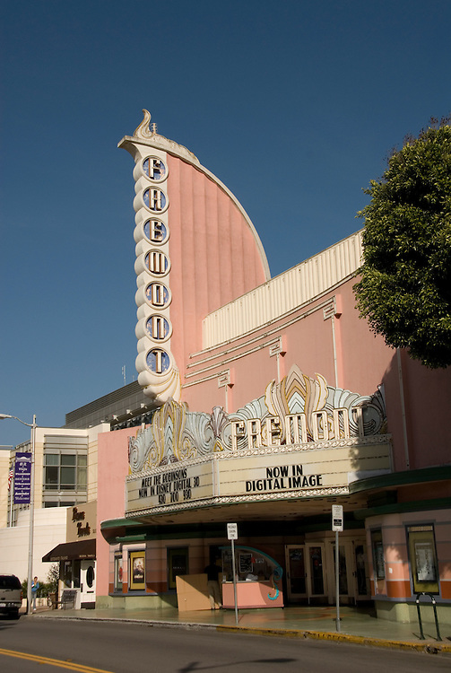 California, San Luis Obispo County: Art Deco Fremont Theater in downtown San Luis Obispo..Photo caluis143-70867..Photo copyright Lee Foster, www.fostertravel.com, 510-549-2202, lee@fostertravel.com