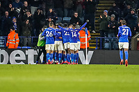 9th March 2020; King Power Stadium, Leicester, Midlands, England; English Premier League Football, Leicester City versus Aston Villa; The Leicester City team celebrate their first goal in the 42nd minute