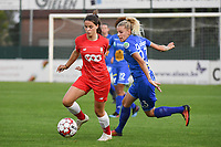 20190823 – OOSTAKKER, BELGIUM : Gent's Tine Schryvers (R) and Standard's Constance Brackman (L)  pictured during a women soccer game between AA Gent Ladies and Standard Femina de Liege on the first matchday of the Belgian Superleague season 2019-2020 , the Belgian women's football  top division , friday 23 th August 2019 at the PGB Stadium Oostakker in Gent  , Belgium  .  PHOTO SPORTPIX.BE | DIRK VUYLSTEKE