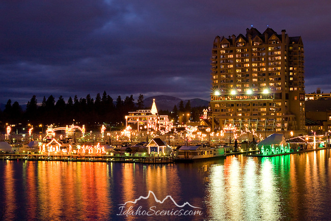 The Coeur d' Alene Resort and floating boardwalk illuminated with holiday light display. Coeur 'd Alene, Idaho.
