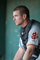 Ben Turner (18) of the San Jose Giants in the dugout during a game against the Lancaster JetHawks at The Hanger on April 11, 2015 in Lancaster, California. San Jose defeated Lancaster, 8-3. (Larry Goren/Four Seam Images)