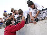23 May 2006: The United States Ben Olsen (in red) signs autographs before the game. The United States Men's National Team lost 1-0 to their counterparts from Morocco at the Nashville Coliseum in Nashville, Tennessee in a men's international friendly soccer game.
