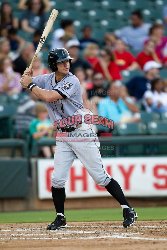 Omaha Storm Chasers outfielder Wil Myers #8 at bat during the Pacific Coast League baseball game against the Round Rock Express on July 22, 2012 at the Dell Diamond in Round Rock, Texas. The Express defeated the Chasers 8-7 in 11 innings. (Andrew Woolley/Four Seam Images).