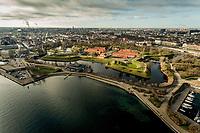 015 190110 Dronebilleder af Den lille  Havfrue, Kastellet, Amager Bakke, Papir&oslash;en, Skuespilhuset, Amalienborg og Inderhavnsbroen.<br /> Foto: Jens Panduro