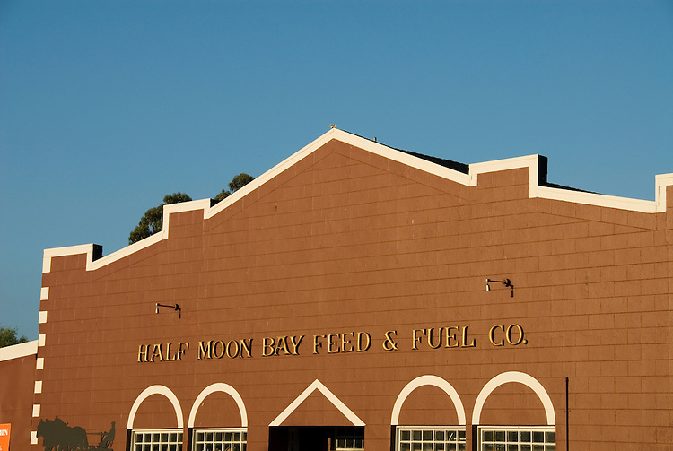 Exterior of Half Moon Bay Feed and Fuel store in Half Moon Bay,.San Mateo Coast of California, south of San Francisco.  Photo copyright Lee Foster, 510-549-2202, lee@fostertravel.com, www.fostertravel.com.  Photo 454-31003