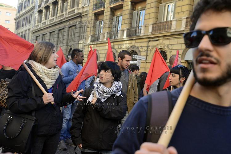 Roma, 24 Ottobre 2014<br /> Sciopero e manifestazione dell'USB contro il jobs act e la legge di stabilit&agrave; del governo Renzi.<br /> Studentesse e studenti