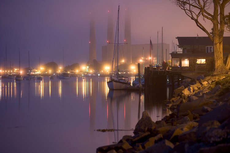 Foggy evening light at Morro Bay harbor on California's central coast