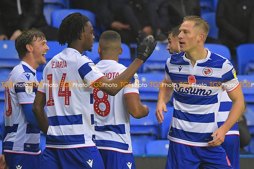 Michael Morrison of Reading right is congratulated by Ovie Ejaria of Readingafter scoring the first goal during Reading vs Luton Town, Sky Bet EFL Championship Football at the Madejski Stadium on 9th November 2019