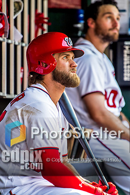 "8 July 2017: Washington Nationals outfielder Bryce Harper sits ""in the hole"" awaiting his at-bat during a game against the Atlanta Braves at Nationals Park in Washington, DC. The Braves shut out the Nationals 13-0 to take the third game of their 4-game series. Mandatory Credit: Ed Wolfstein Photo *** RAW (NEF) Image File Available ***"