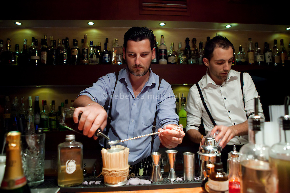 Julien Escot, owner of 'Papa Doble' cocktail bar, prepares a Caribbean Julep cocktail, Papa Doble, Montpellier, France, 14 July 2012. Julien, a former Bartender of the Year (named by Drinks International magazine), also recently won first prize in the Havana Club Grand Prix International 2012 in Cuba.