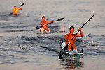Bradley Beach lifeguard Matt Nunnally is out front to win the 1,000-Meter Surfski event at the First Annual Asbury Park Beach Bar Lifeguard Competition held at the 3rd Avenue beach in Asbury Park.  Nunnally was the top point earner (31 points) for the entire competition. ASBURY PARK, NJ  8/4/07  8:21:47 PM  PHOTO BY ANDREW MILLS