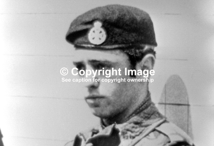 Lance Corporal David Norman Card, Royal Green Jackets, shot dead Andersonstown, Belfast, N Ireland, 4th August 1972. 197208040585.<br /> <br /> Copyright Image from Victor Patterson, 54 Dorchester Park, Belfast, UK, BT9 6RJ<br /> <br /> t1: +44 28 9066 1296 (from Rep of Ireland 048 9066 1296)<br /> t2: +44 28 9002 2446 (from Rep of Ireland 048 9002 2446)<br /> m: +44 7802 353836<br /> <br /> e1: victorpatterson@me.com<br /> e2: victorpatterson@gmail.com<br /> <br /> The use of my copyright images is subject to my Terms &amp; Conditions.<br /> <br /> It is IMPORTANT that you familiarise yourself with them. They are available on my website at www.victorpatterson.com.<br /> <br /> None of my copyright images may be used on a website unless they are visibly watermarked, i.e. &copy; Victor Patterson within the body of the visible image. Metadata denoting my copyright must NOT be deleted. <br /> <br /> Web use is extra at currently recommended NUJ rates.