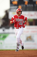 Batavia Muckdogs shortstop J.J. Gould (49) runs the bases after hitting a home run during a game against the Brooklyn Cyclones on July 6, 2016 at Dwyer Stadium in Batavia, New York.  Batavia defeated Brooklyn 15-2.  (Mike Janes/Four Seam Images)