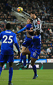 9th December 2017, St James Park, Newcastle upon Tyne, England; EPL Premier League football, Newcastle United versus Leicester City; Mikel Merino of newcastle United beats Jamie Vardy and Wes Morgan of Leicester City but headed over