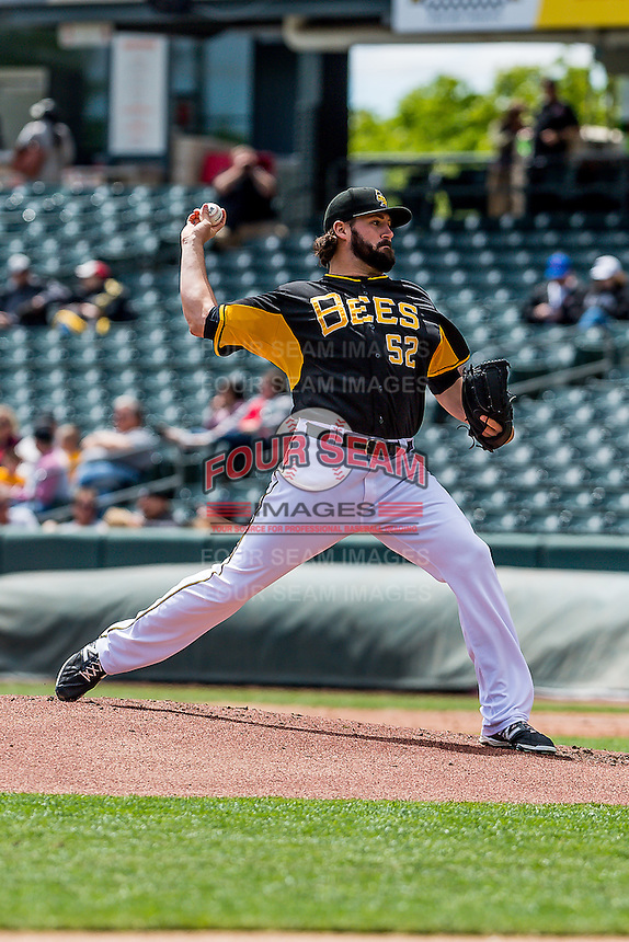 Salt Lake Bees starting pitcher Zach Nuding (53) delivers a pitch to the plate against the Sacramento River Cats in Pacific Coast League action at Smith's Ballpark on May 01, 2016 in Salt Lake City, Utah. Sacramento defeated Salt Lake 16-6.  (Stephen Smith/Four Seam Images)