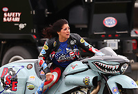 Sep 1, 2017; Clermont, IN, USA; NHRA pro stock motorcycle rider Angelle Sampey during qualifying for the US Nationals at Lucas Oil Raceway. Mandatory Credit: Mark J. Rebilas-USA TODAY Sports