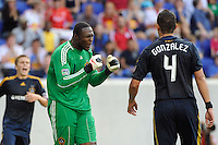 Los Angeles Galaxy goalkeeper Donovan Ricketts (1) raects after a play. The Los Angeles Galaxy defeated the New York Red Bulls 1-0 during a Major League Soccer (MLS) match at Red Bull Arena in Harrison, NJ, on August 14, 2010.