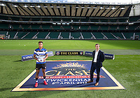 "Anthony Watson of Bath Rugby and Managing Director Tarquin McDonald. Bath Rugby Photocall for ""The Clash"" on September 22, 2016 at Twickenham Stadium in London, England. Photo by: Andrew Fosker / Onside Images"