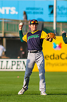 Beloit Snappers shortstop Nick Allen (2) warms up in the outfield prior to a Midwest League game against the Wisconsin Timber Rattlers on May 17, 2018 at Fox Cities Stadium in Appleton, Wisconsin. Beloit defeated Wisconsin 8-7. (Brad Krause/Four Seam Images)