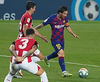 23rd June 2020, Camp Nou, Barcelona, Spain; La Liga Football league, FC Barcelona versus Athletico Bilbao;  Leo Messi makes room past the Bilbao defense for a shot