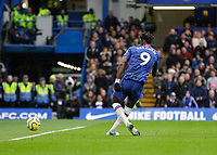 9th November 2019; Stamford Bridge, London, England; English Premier League Football, Chelsea versus Crystal Palace; Tammy Abraham of Chelsea shoots to score his sides 1st goal in the 52nd minute to make it 1-0 - Strictly Editorial Use Only. No use with unauthorized audio, video, data, fixture lists, club/league logos or 'live' services. Online in-match use limited to 120 images, no video emulation. No use in betting, games or single club/league/player publications