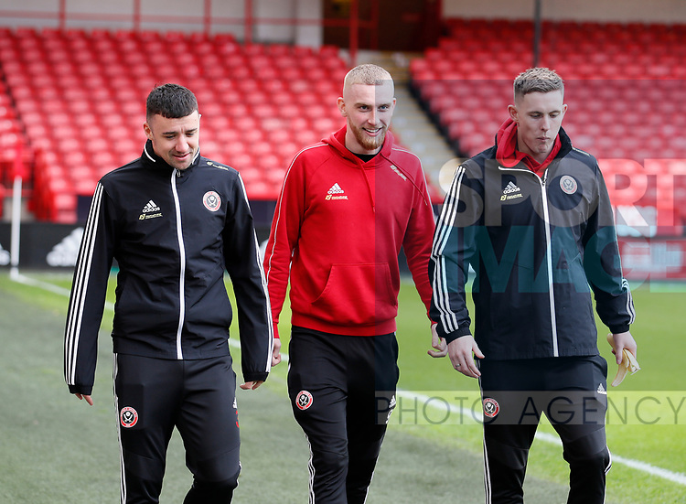 Enda Stevens, Oli McBurnie and Dean Henderson of Sheffield Utd during the Premier League match at Bramall Lane, Sheffield. Picture date: 9th February 2020. Picture credit should read: Simon Bellis/Sportimage